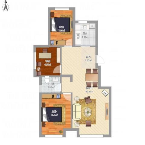 中国铁建 青秀蓝湾3室1厅1卫1厨88.00㎡户型图