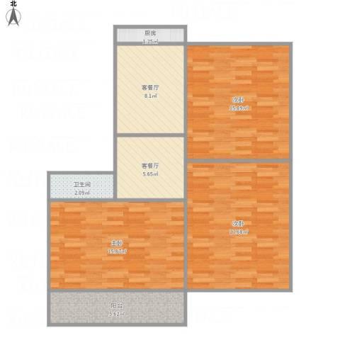 青园街省博物馆宿舍3室2厅1卫1厨97.00㎡户型图