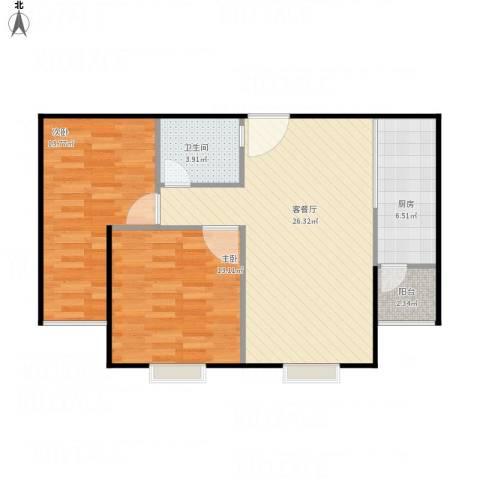 紫金新干线二期2室1厅1卫1厨82.00㎡户型图