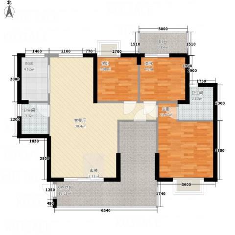 海晟维多利亚3室1厅2卫1厨115.00㎡户型图