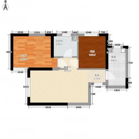 中海国际社区2室1厅1卫1厨64.00㎡户型图