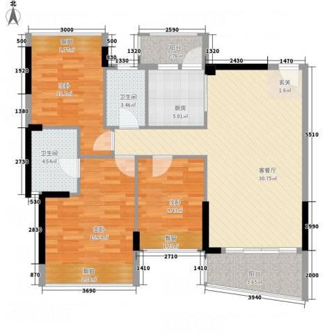 耀宝凯旋豪庭・锦公馆3室1厅2卫1厨88.94㎡户型图