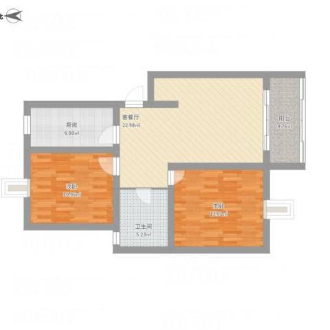 齐爱佳苑2室1厅1卫1厨82.00㎡户型图