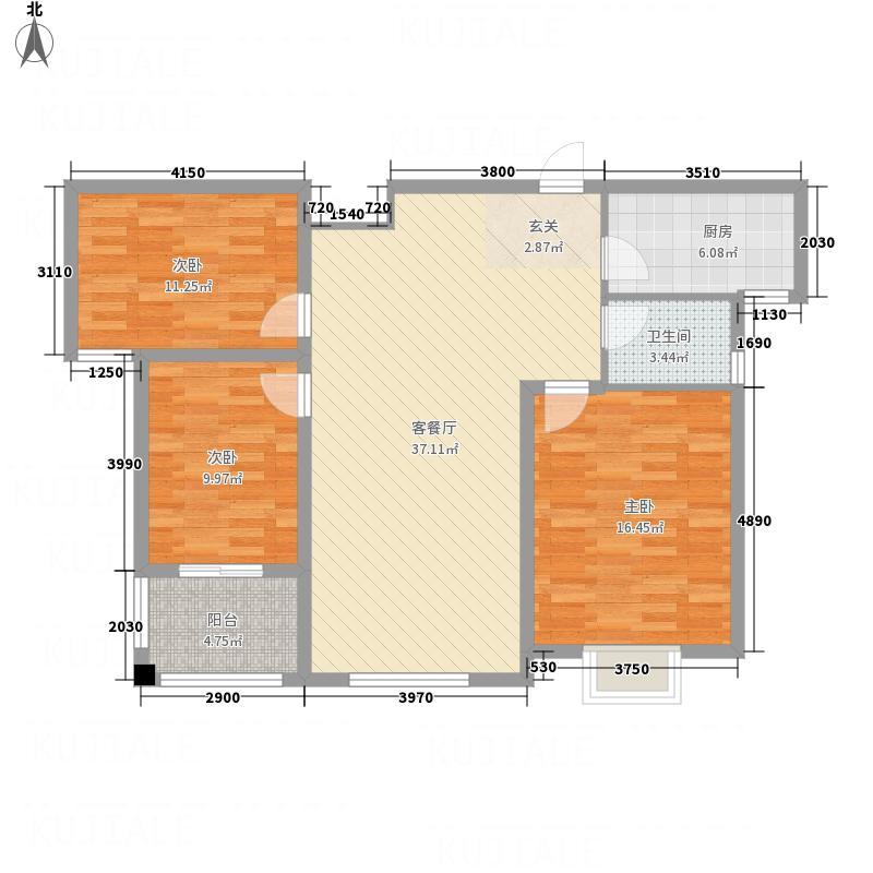 凤凰牡丹园127.62㎡调整大小户型3室2厅2卫1厨