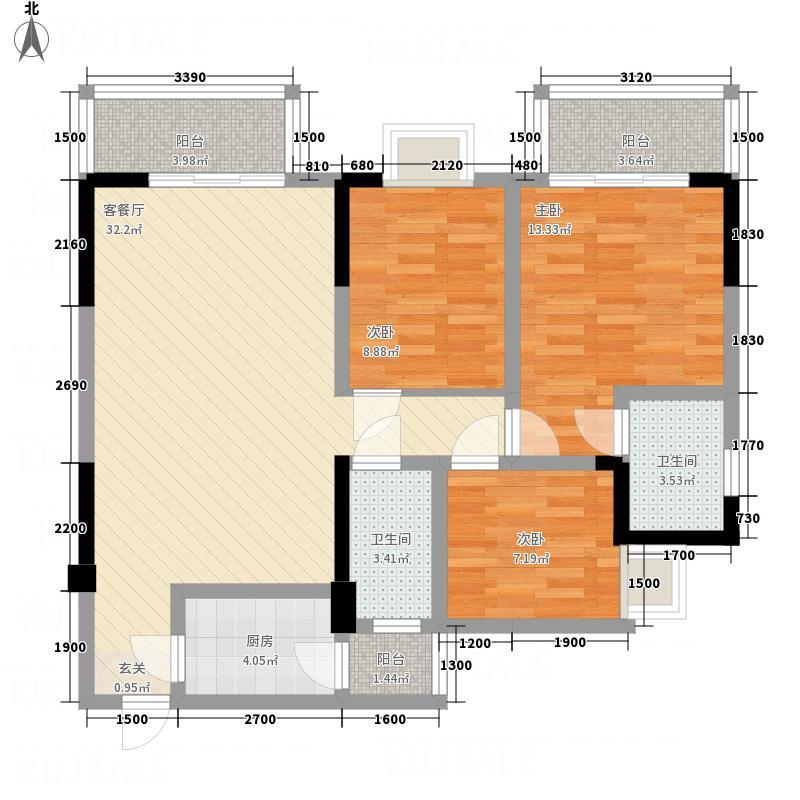 瑞联・江山壹品12.66㎡H1户型3室2厅2卫1厨