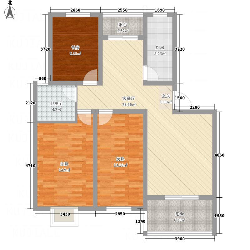 港景香水湾122.61㎡户型3室2厅1卫1厨