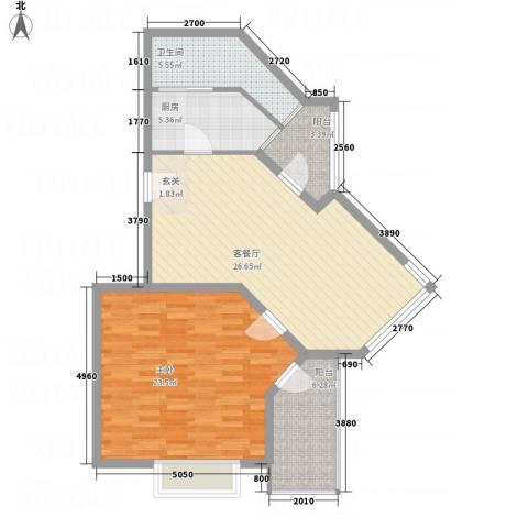 侨光苑1室1厅1卫1厨70.73㎡户型图