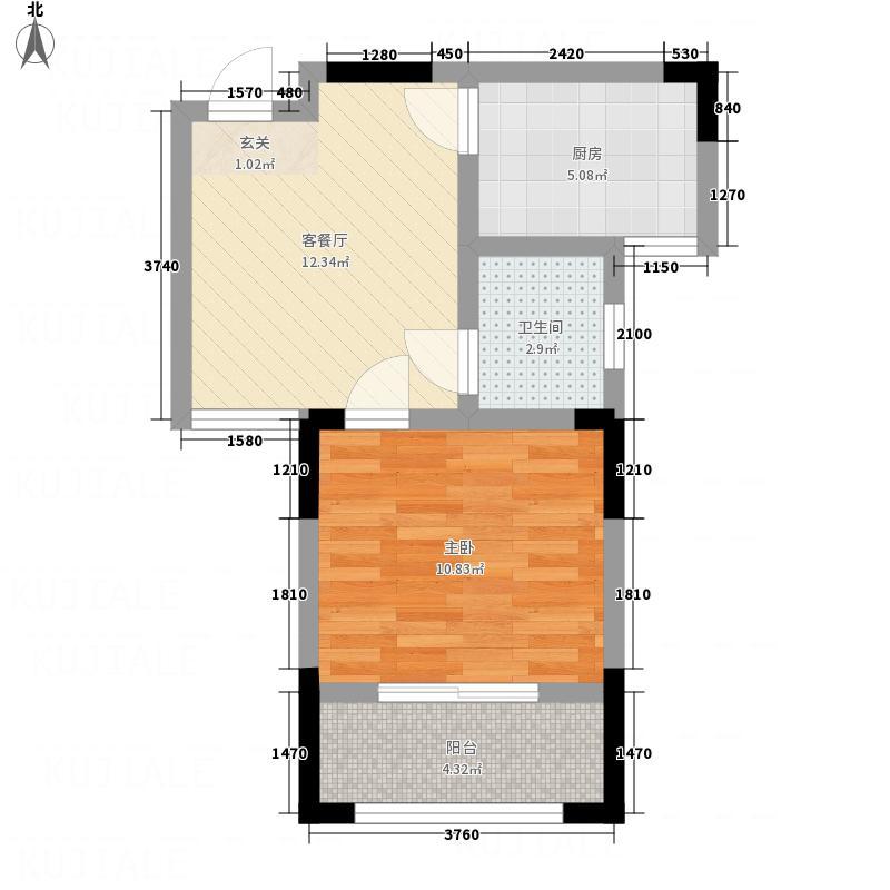 港澳国际广场B户型1室1厅1卫1厨