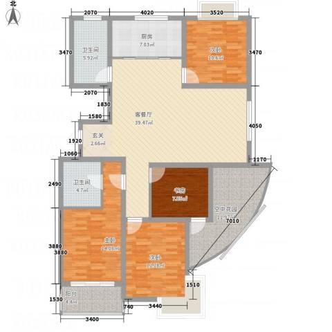 华都馨苑4室1厅2卫1厨134.30㎡户型图