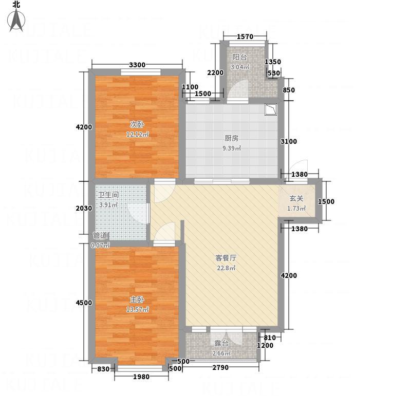 亿居新城果岭郡86.37㎡221-8637户型2室2厅1卫1厨