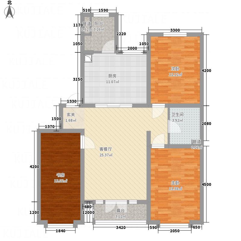 亿居新城果岭郡18.42㎡321-10842户型3室2厅1卫1厨