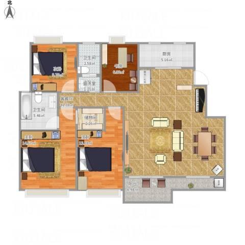 紫金上林苑4室1厅2卫1厨146.00㎡户型图