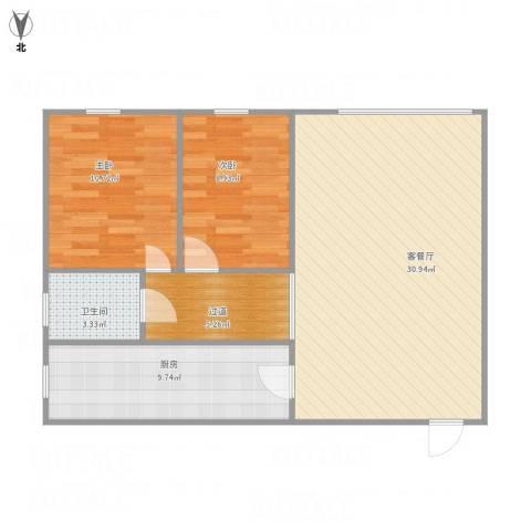 东方巴黎广场2室1厅1卫1厨92.00㎡户型图