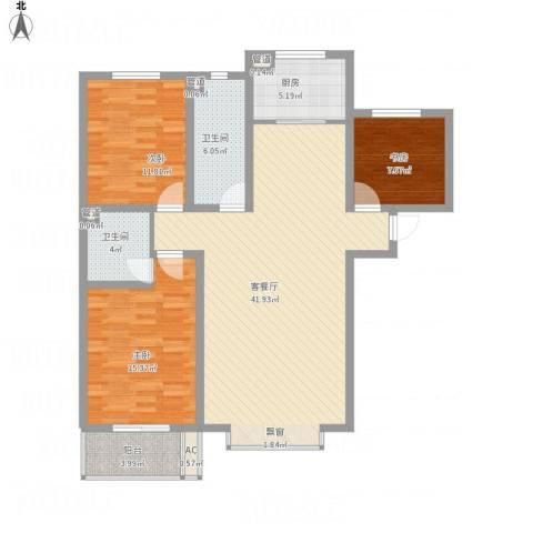 东泰花园丰华苑3室1厅2卫1厨138.00㎡户型图
