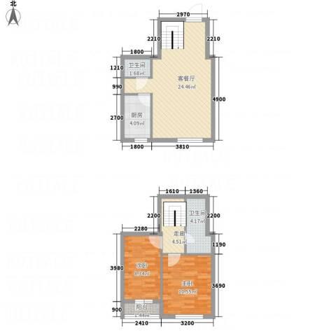 中�天地2室1厅2卫1厨85.00㎡户型图