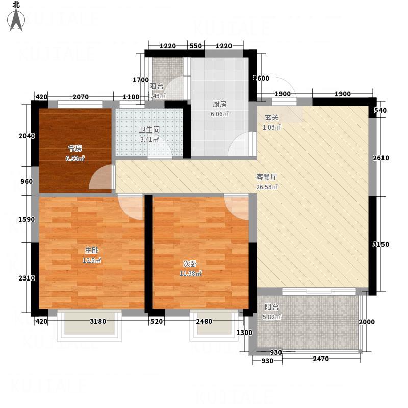 联投花山郡13.00㎡二期5号楼A5户型3室1卫1厨