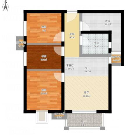 上上城青年社区二期3室1厅1卫1厨83.00㎡户型图