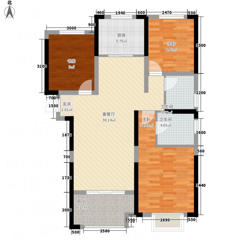 联投花山郡117.00㎡二期9、11、13号楼C5户型3室2厅2卫1厨