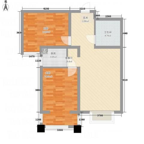 汇鑫温泉都市庭院2室1厅1卫1厨88.00㎡户型图