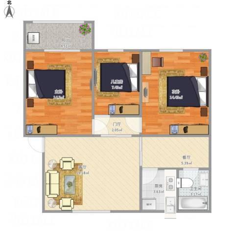 康乐小区3室2厅1卫1厨99.00㎡户型图