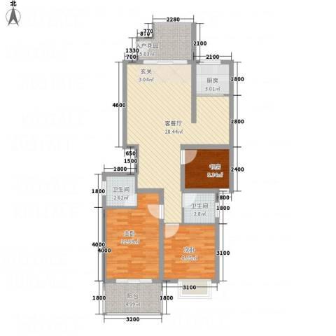 香港花园3室1厅2卫1厨72.92㎡户型图