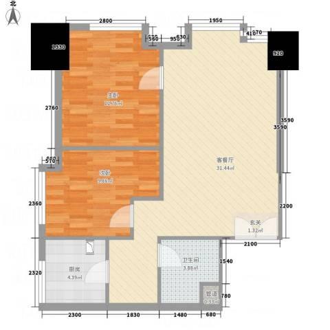 理达文华广场2室1厅1卫1厨87.00㎡户型图