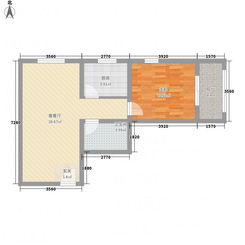 渤景湾75.30㎡一期1/2/7/8/9/10/11号楼高层B4户型1室2厅1卫1厨