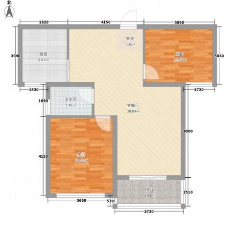 洪福小区三期2室1厅1卫1厨97.00㎡户型图