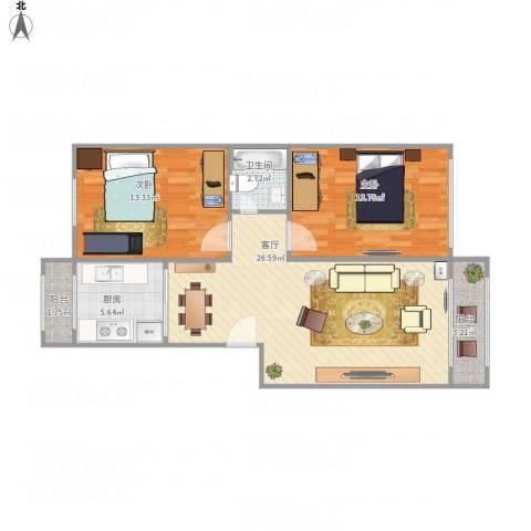 先春园世春里2室1厅1卫1厨90.00㎡户型图