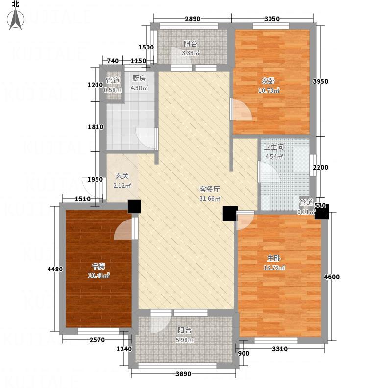 甜橙派114.53㎡A9号楼N户型3室2厅1卫1厨