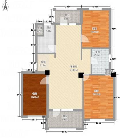甜橙派3室1厅1卫1厨115.00㎡户型图