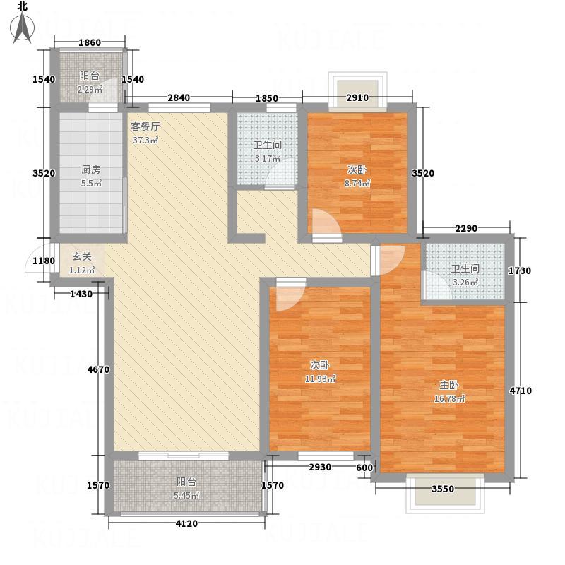 凤凰牡丹园135.41㎡调整大小户型3室2厅2卫1厨