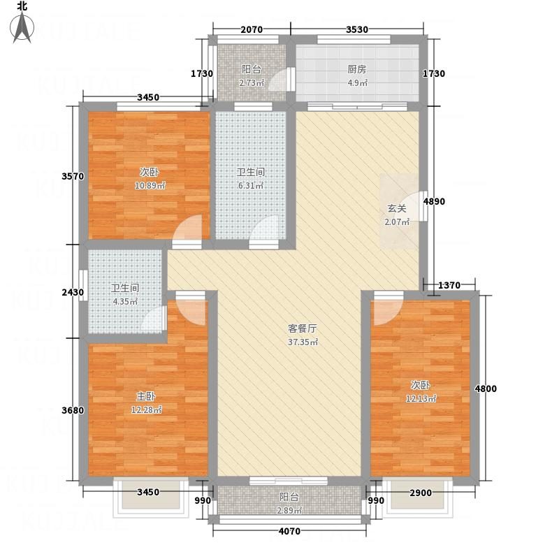金色・安康家园135.22㎡16#-A户型3室2厅2卫1厨