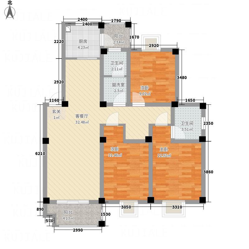 东方明珠嘉苑123.00㎡东方明珠嘉苑户型图B型平面布置图3室2厅2卫1厨户型3室2厅2卫1厨