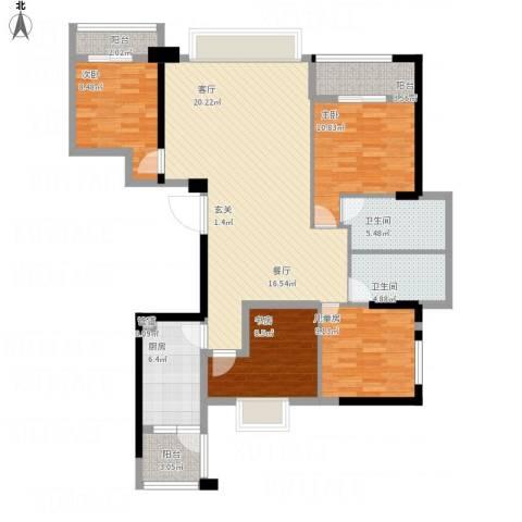 铂金汉宫4室1厅2卫1厨143.00㎡户型图