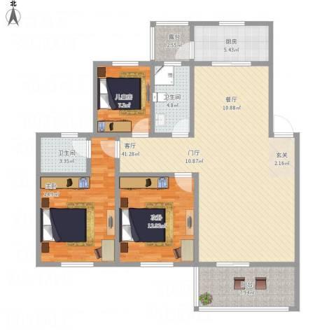 长江镇红星小区3室1厅2卫1厨141.00㎡户型图