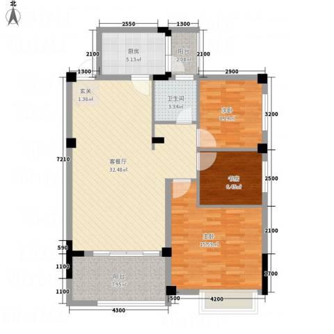 翠逸庭苑3室1厅1卫1厨81.17㎡户型图