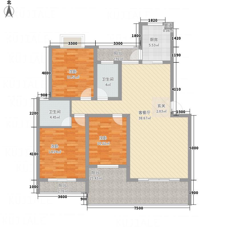 宏建天御星三阳台户型3室2厅2卫1厨