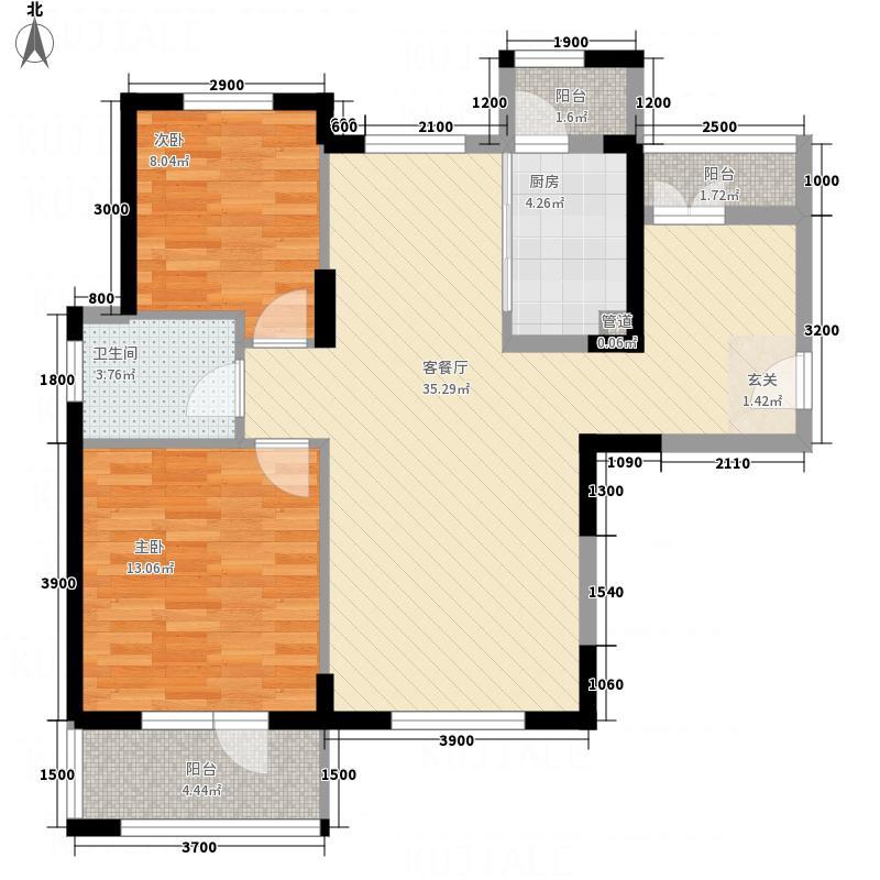 泛海国际居住区悦海园A户型2室2厅1卫1厨