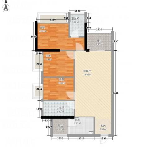 科尔玛城3室1厅2卫1厨67.01㎡户型图