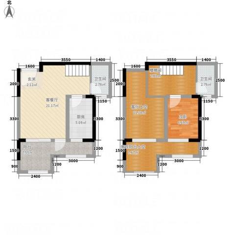 置尚联邦1室1厅2卫1厨72.78㎡户型图