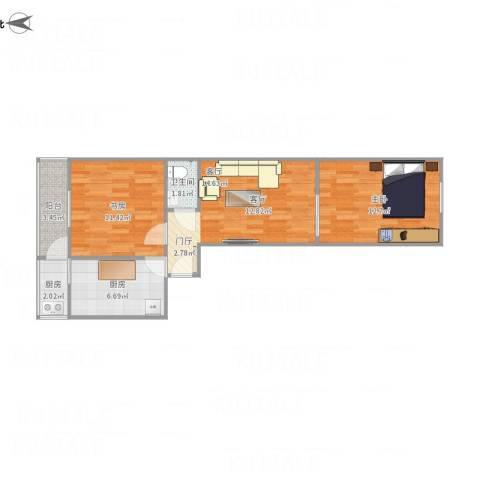 阳明里2室1厅1卫2厨72.00㎡户型图