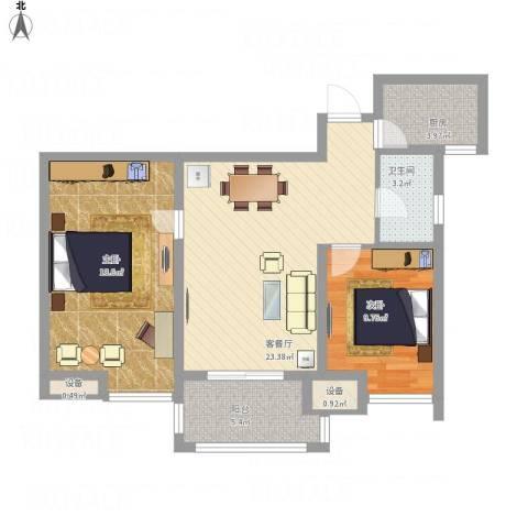 栖霞栖庭2室1厅1卫1厨95.00㎡户型图