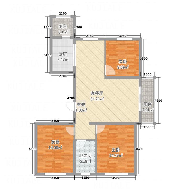金水湾88.00㎡户型2室2厅1卫1厨