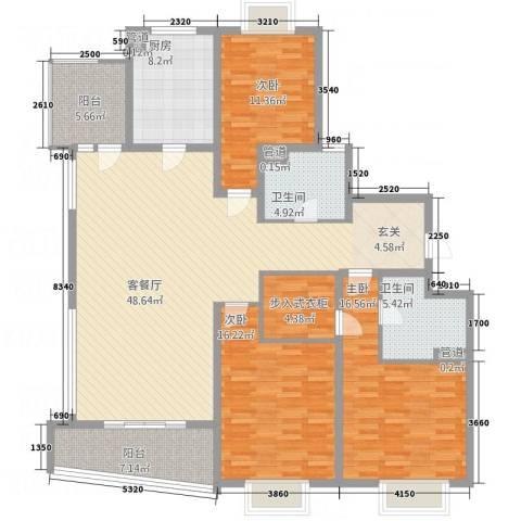 华景西苑3室1厅2卫1厨128.97㎡户型图