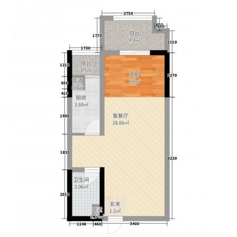 人瑞潇湘国际1厅1卫1厨55.00㎡户型图