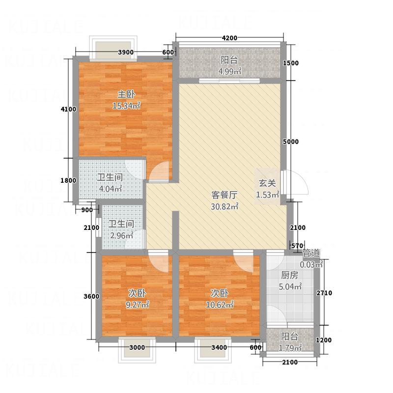 锦地上城国际社区锦地上城户型3室2厅2卫1厨