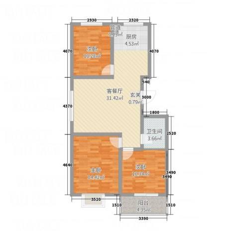 天缘新城3室1厅1卫0厨84.98㎡户型图
