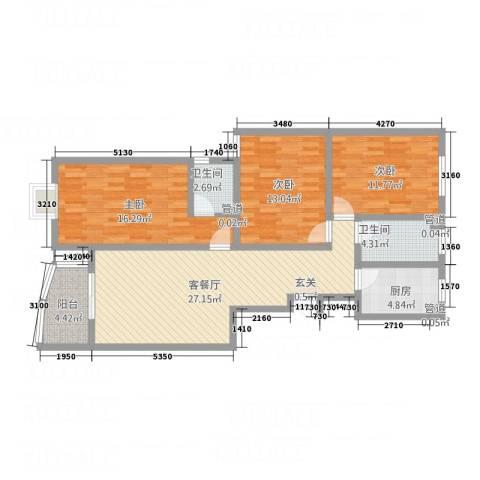 祥和家园3室1厅2卫1厨123.00㎡户型图