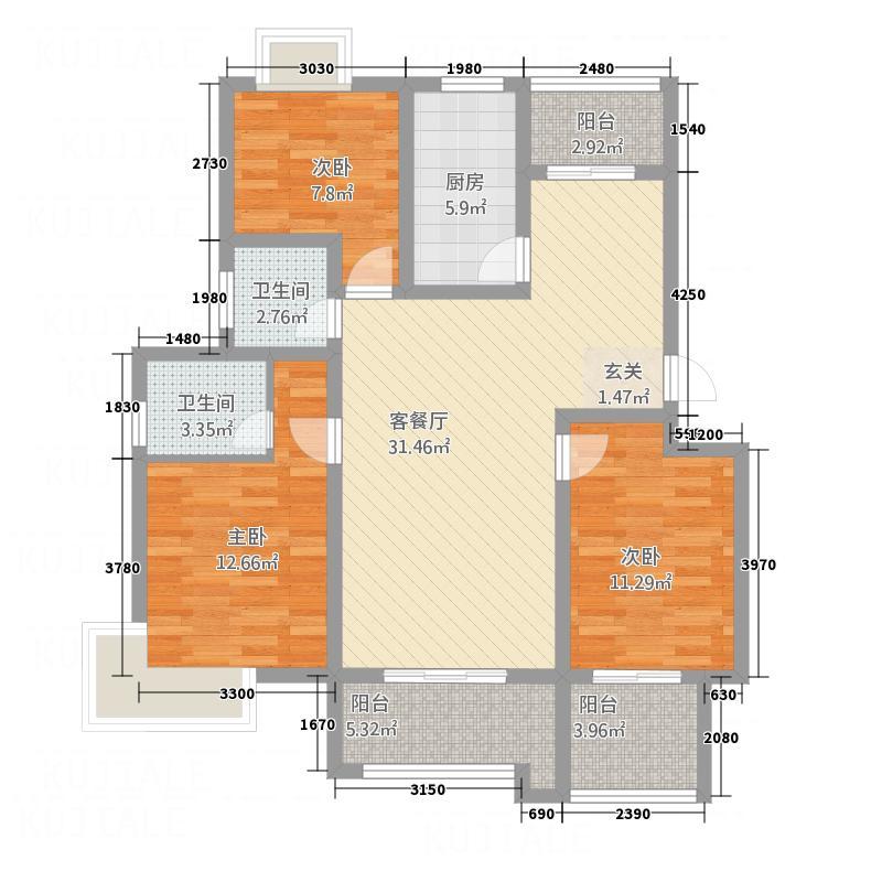 益城名流世家127.61㎡高层C户型3室2厅2卫